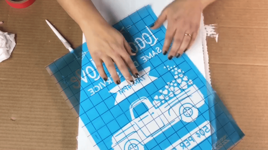 Using Transfer Tape with Oramask 813 Stencil Vinyl. Cute Valentine's Day Sign Tutorial using chalk paint and Oramask 813 Stencil Vinyl - This blog has tons of Silhouette Cameo and Cricut tutorials, Free SVG Files and more fun stuff