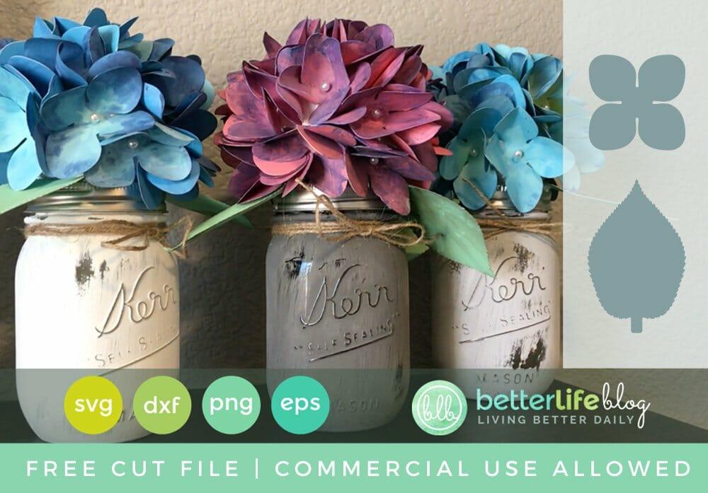 Free Cut File Paper Hydrangea Bouquets Using Cricut Explore Or