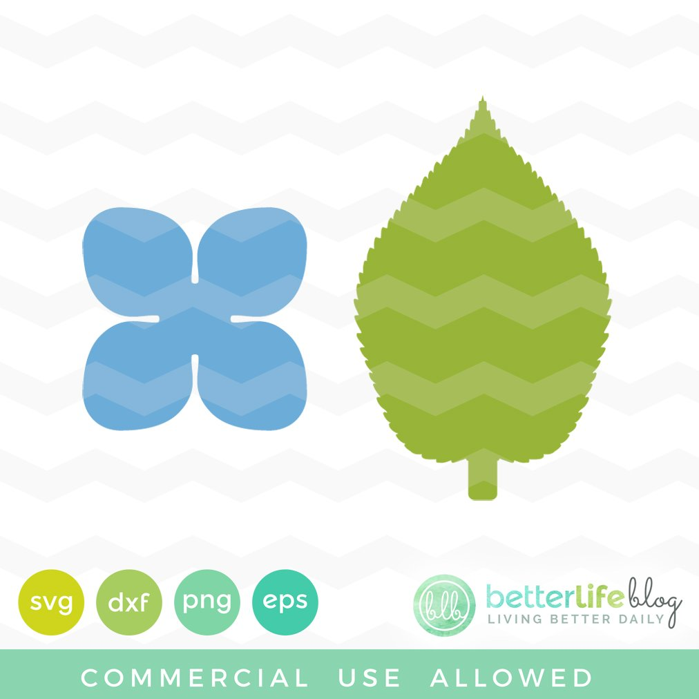 Hydrangea And Leaf Template Svg Better Life Blog