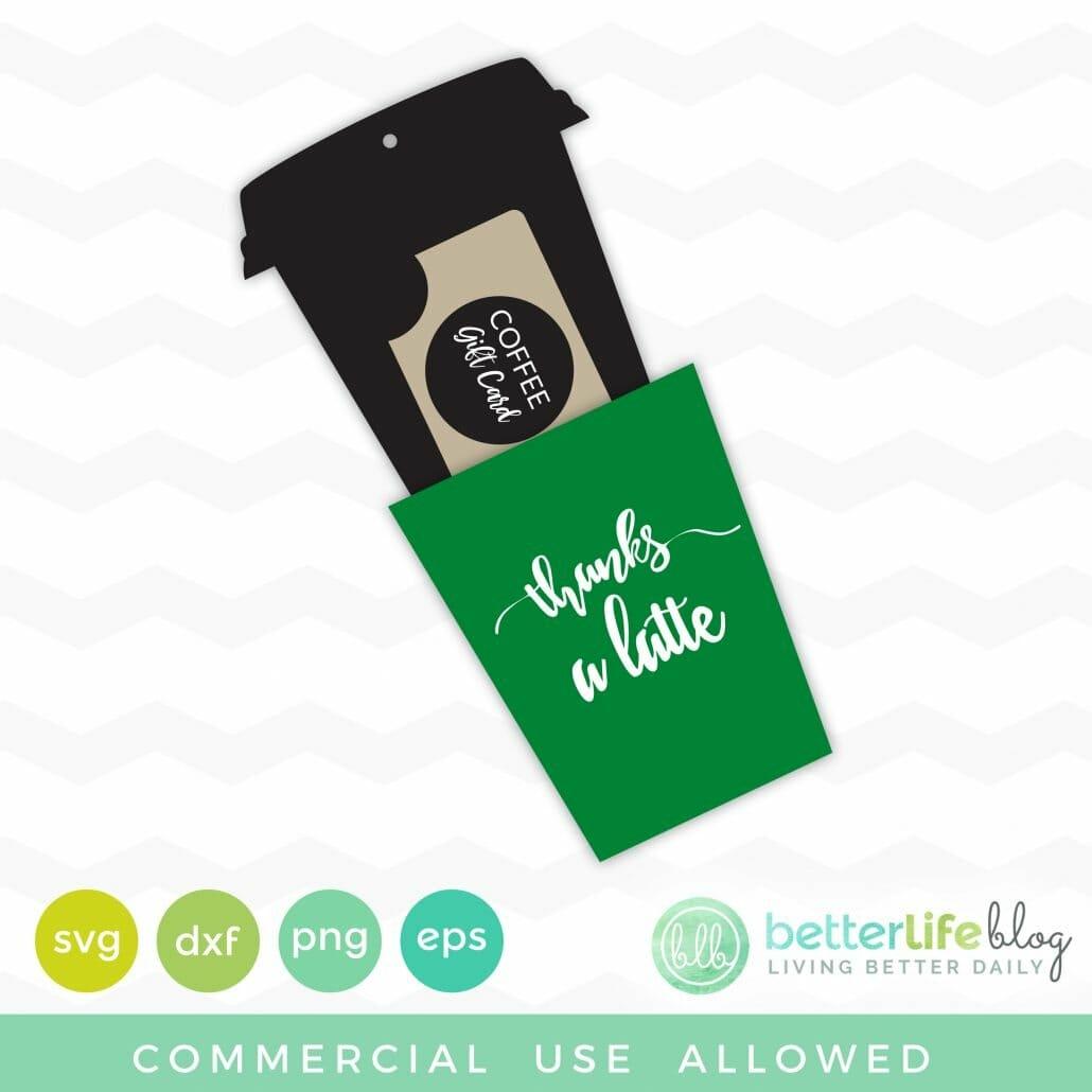 Coffee Gift Card Holder SVG