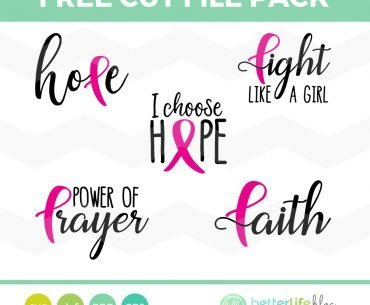FREE SVG Cut File – Breast Cancer Ribbon Awareness Pack (Cricut and Silhouette Cameo)