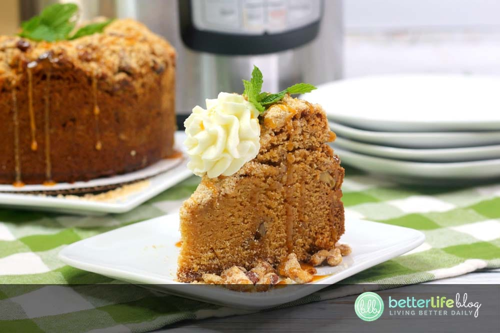 This Instant Pot Spanish Coffee Cake is the perfect accompaniment to your favorite cup of Joe. Learn how to make this easy coffee cake in your IP - it's perfectly topped with a walnut streusel and has the most delicious flavor profile!