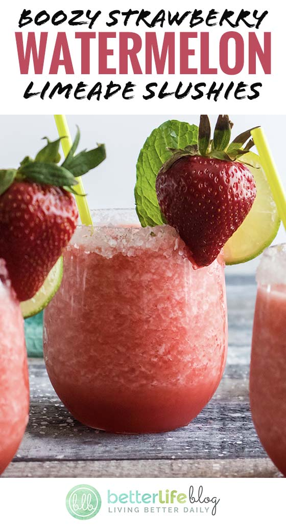 A delicious boozy drink filled with fresh strawberries and watermelon. Cheers!