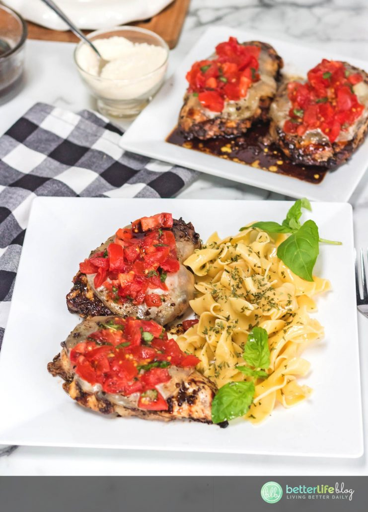 This Balsamic Glazed Chicken platter is full of flavor and completely made from scratch. Topped with mozzarella and a homemade tomato basil garnish, you'll impress your family with this 100% homemade meal.