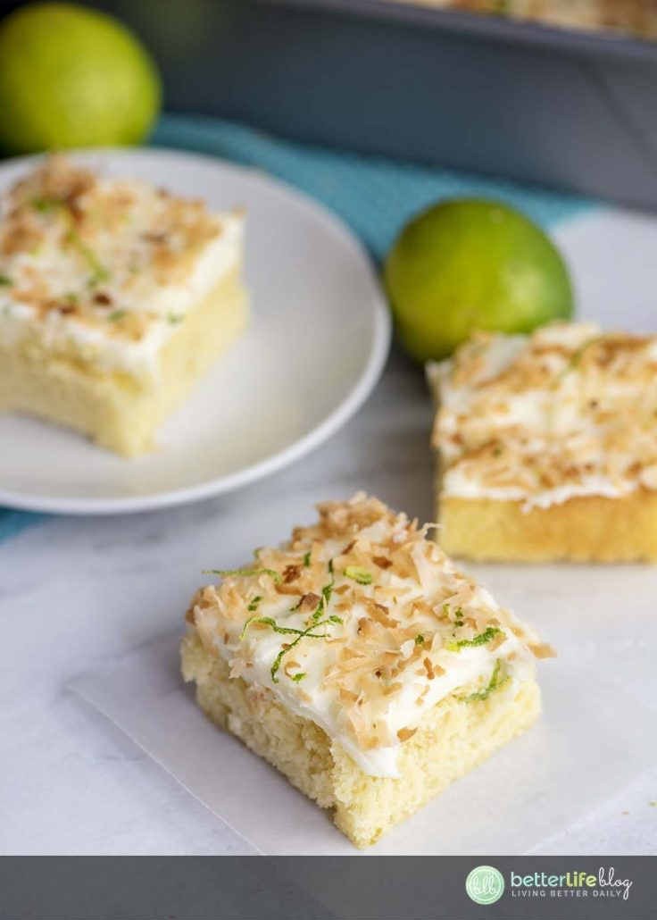 These Lime Cake Bars are full of zesty, citrusy flavor. They boast a cream cheese frosting, giving it a smooth and sweet flavor and consistency. You won't want to miss out on this easy recipe!