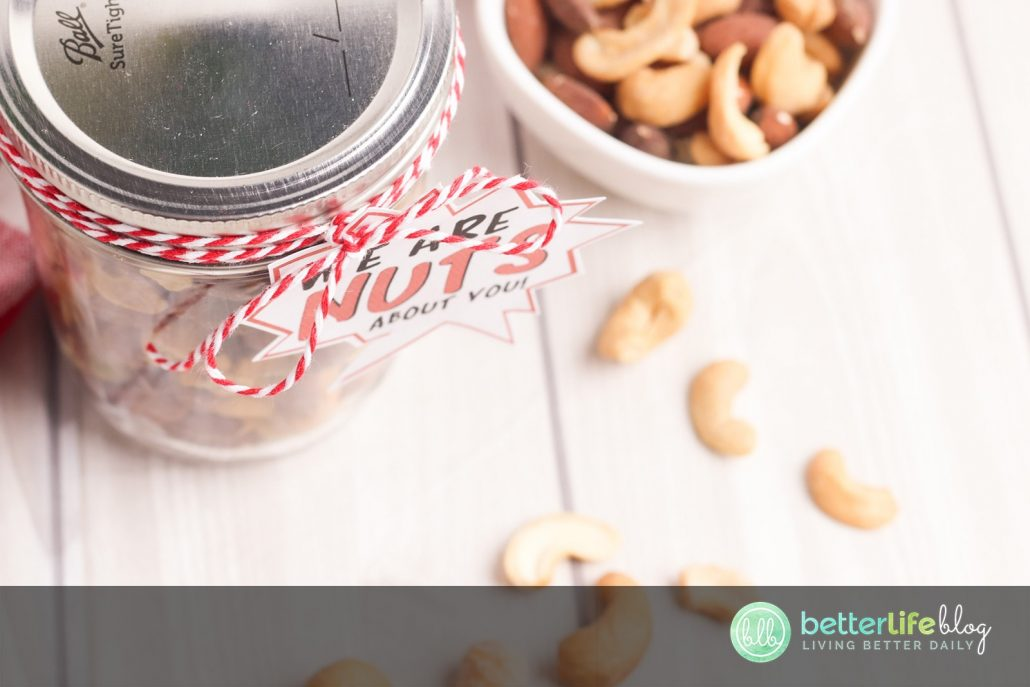 """This """"Nuts About Dad"""" mason jar is an adorable DIY idea for this year's Father's Day idea."""