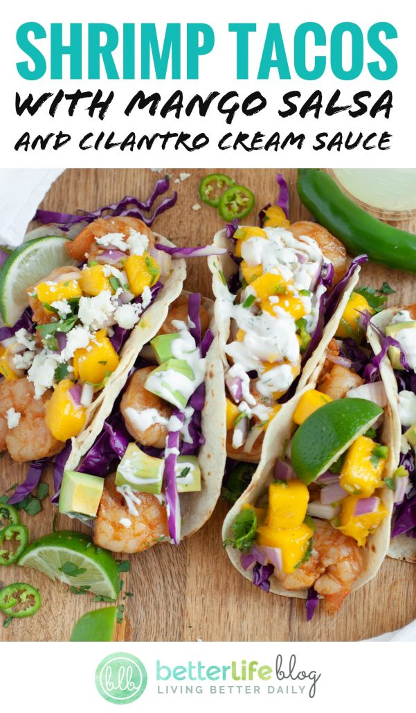 Shrimp Tacos with Mango Salsa - an easy-peasy recipe that's made entirely from scratch! Full of flavor and texture, your family will absolutely adore this taco recipe!