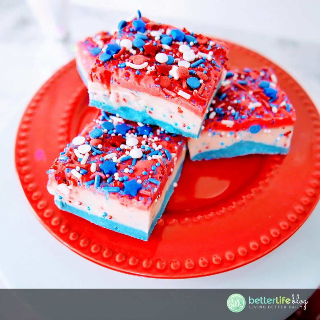 This Red, White and Blue Fudge is the perfect dessert to serve for your Fourth of July festivities! Wow your guests with the layers of color and generous amount of patriotic sprinkles. The best dessert for your favorite American holiday!