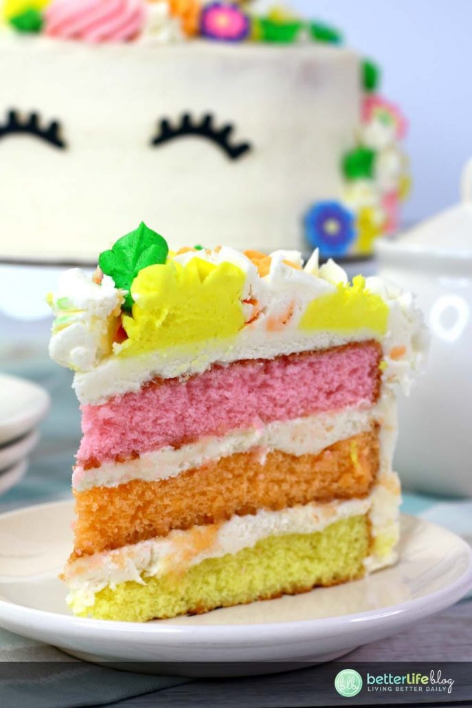 This Easy Unicorn Cake is filled with colorful cake layers and is covered with a delicious homemade frosting. Learn how to make your very own with our easy step-by-step instructions.