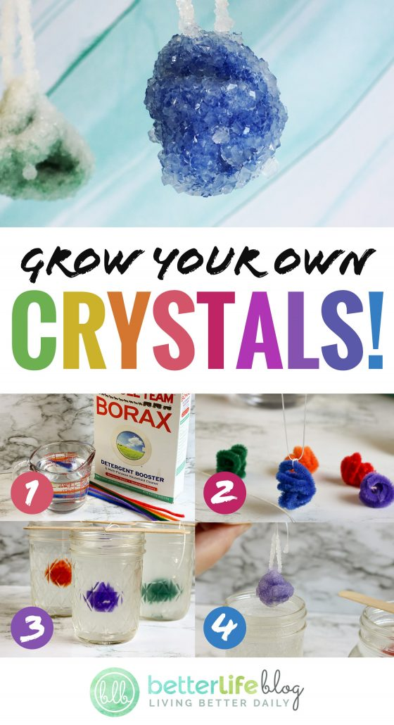 How to Grow Crystals - this simple kid-friendly DIY is a science experiment in itself. Your kids will totally enjoy growing their own crystals, and they won't even realize that it's a science lesson!