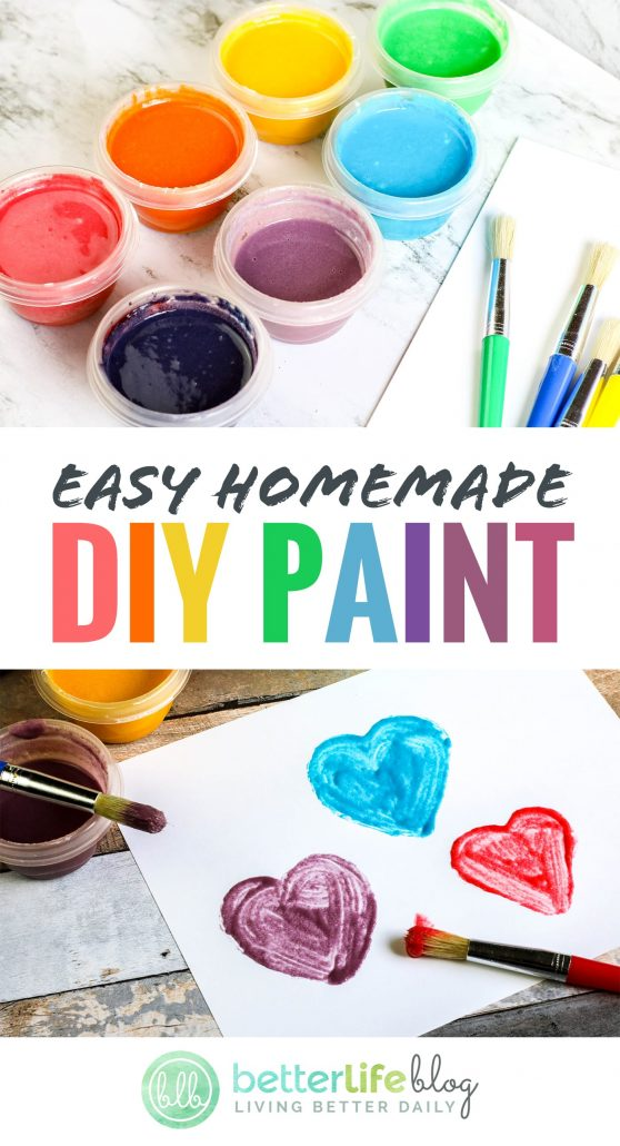 This non-toxic DIY Paint only takes 4 ingredients to make - and your kiddo will have a blast making it with you AND using it afterwards.