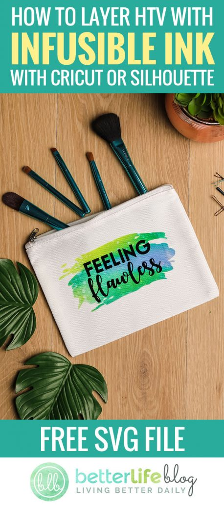 This easy DIY cosmetic bag uses a Cricut and Cricut EasyPress to layer infusible ink and create the most adorable design. Check out my tutorial and learn how to master the art of infusible ink… complete with a free SVG file!