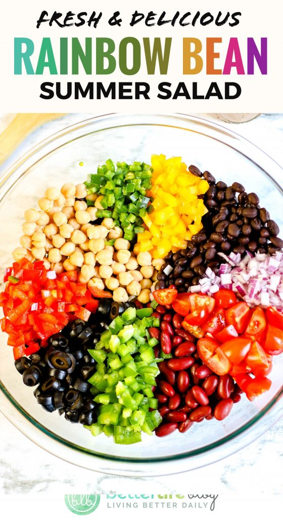 This Rainbow Bean Summer Salad boasts a homemade dressing that you shake in a mason jar. This ensures that all of the ingredients and components get thoroughly combined, offering the optimal flavor profile.