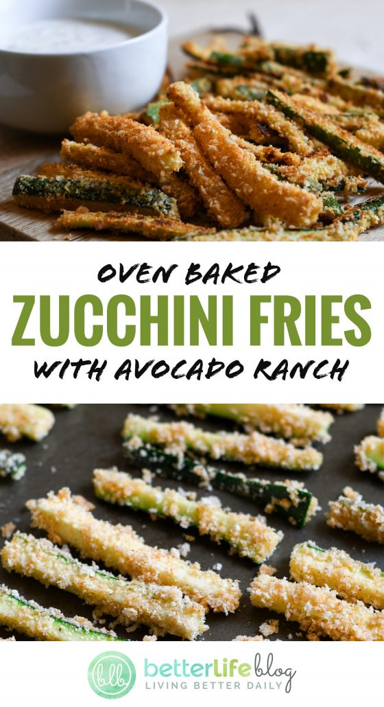 Check out this healthy snack: Oven-Baked Zucchini Fries. They're easy to make and are a great way to sneak veggies into your kiddos' diets! Try them out with my homemade Avocado Ranch and your family will be begging you for seconds.