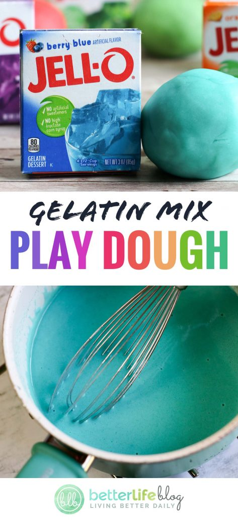 How to make Homemade Jello Playdough: this simple kid-friendly DIY is super fun and super colorful. Made up of 6 simple ingredients, you can make your very own playdough in minutes - and your kiddos will love it!