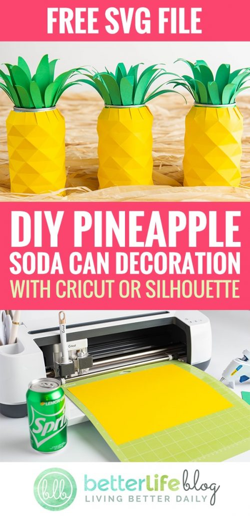 Time to take out your trusty Cricut machine! Today, I'm teaching you how to make this Pineapple Soda Can craft - using only cardstock and leftover soda cans. How original and SO perfect for your upcoming luau-themed bash.
