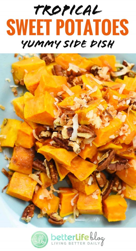 These Tropical Sweet Potatoes are absolutely delicious. They've got a crunchy aspect to it, all thanks to its toasted coconut and pecans. This side dish is only 114 calories per serving, so it's a guilt-free carb to your next dinner! Awesome!