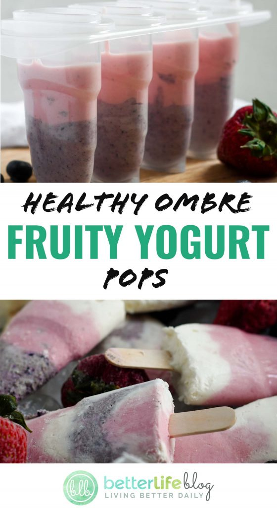 Healthy Ombre Fruity Yogurt Pops - homemade frozen treats that are just perfect for the summertime! Make these your go-to summer snack, full of flavor and healthy ingredients.