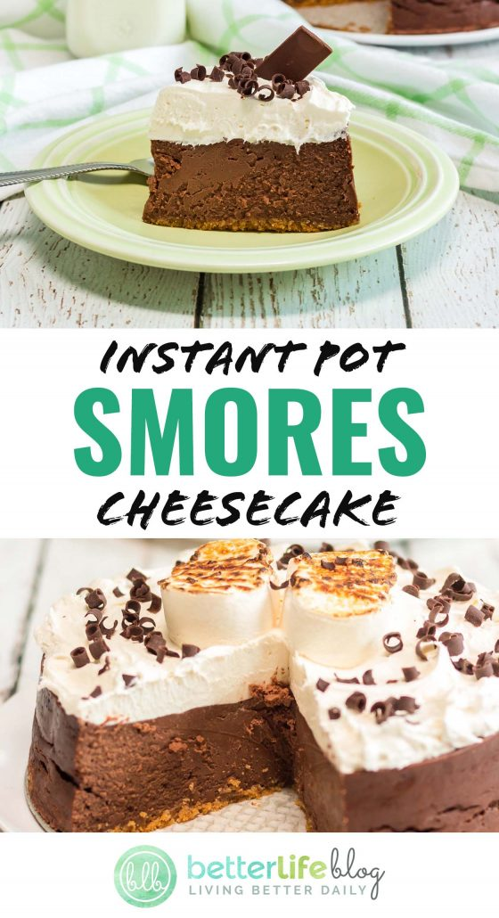 This amazing Instant Pot Smores Cheesecake is a smooth, decadent treat. It's got a generous topping of chocolate and roasted marshmallows - sheer, sheer perfection!