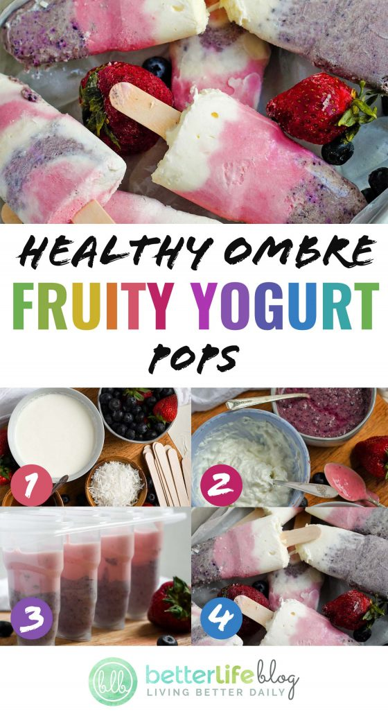 These Healthy Ombre Fruity Yogurt Pops have the best flavor combination and are absolutely beautiful. They're easy to make and because they have only the best ingredients, you'll never hesitate in allowing your kids to snack on them daily.