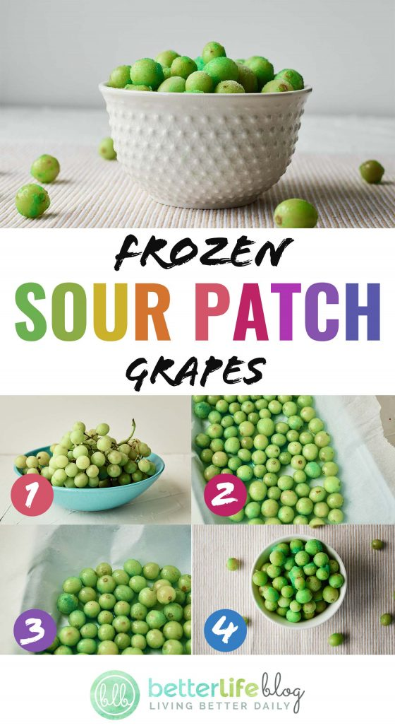 These Frozen Sour Patch Grapes are a sweet and cool treat - perfect for hot, summer days. They're easy to prepare and your kiddos will absolutely adore this snack!