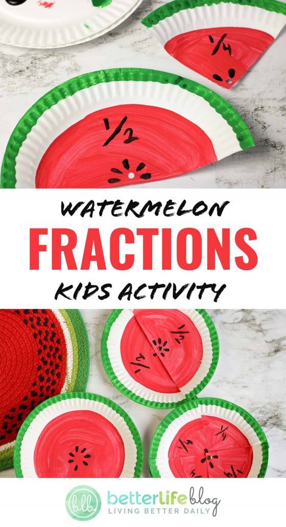 Watermelon Fraction Kids Activity: an easy DIY comprised of paper plates and paint. This visual activity will get your kiddos excited for their next math lesson, effectively teaching them their fractions.