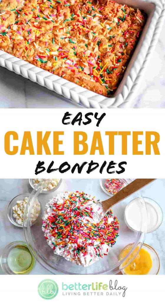 My simple recipe transforms traditional yellow cake mix into a delicious batch of Easy Cake Batter Blondies. They're filled with chocolate chips and sprinkles - and there's deliciousness in every bite.