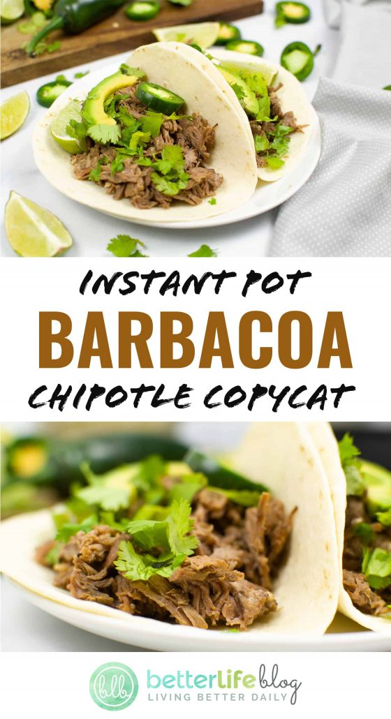 This Instant Pot Barbacoa Chipotle Copycat recipe is out-of-this-world delicious! An easy recipe to put together, your kids won't even realize this is homemade (even when they're craving take-out).