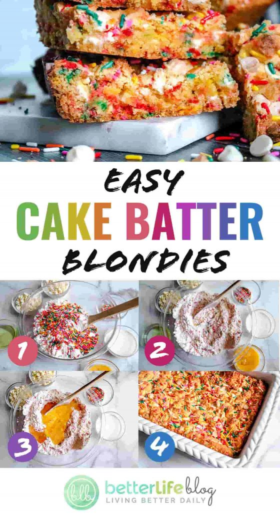 Easy Cake Batter Blondies - These blondies consist of only 6 ingredients and are a breeze to whip up. Your family will totally adore the results: they're so yummy!