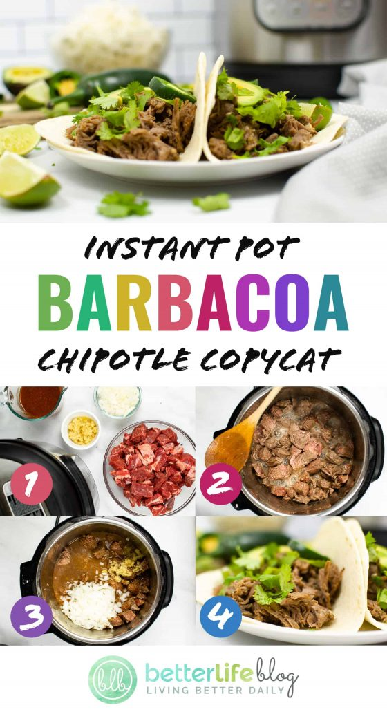 Instant Pot Barbacoa Chipotle Copycat Recipe - this copycat recipe will blow your mind! You'll be impressed with how close it takes to the actual Chipotle meal. The meat is tender, juicy and jam-packed full of flavor.