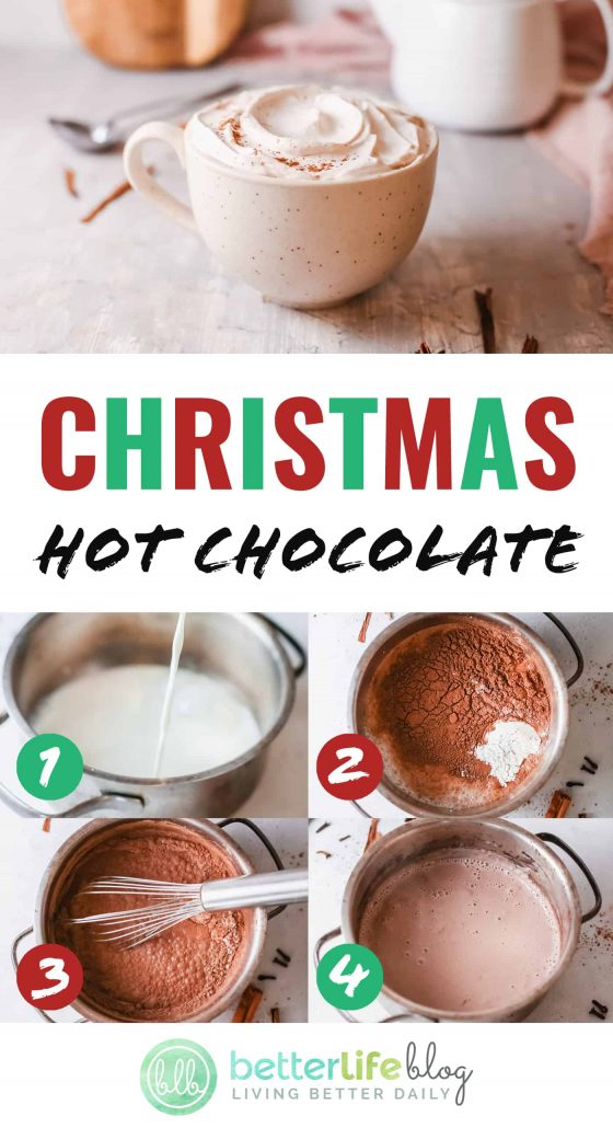 Christmas Hot Chocolate - learn how to make your very own hot chocolate from scratch! My easy recipe is filled with flavor all thanks to its unique mix of spices.