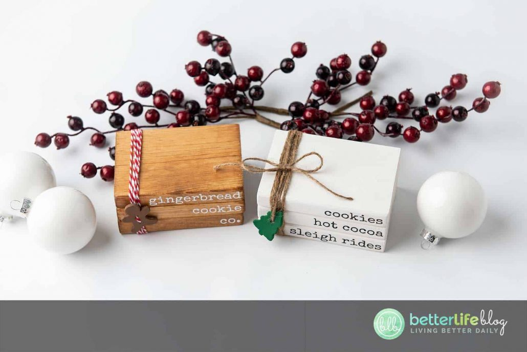 These Christmas Stamped Books are made with the help of a Cricut machine. They give off a farmhouse-style flair and are really easy to put together.