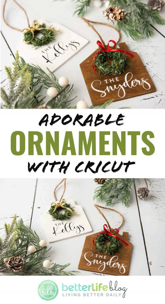 Today, I am showing you how to make the most adorable ornaments with Cricut. These Christmas ornaments make for a great gift. They also have a farmhouse/rustic feel to them, elevating the look of your holiday setup.