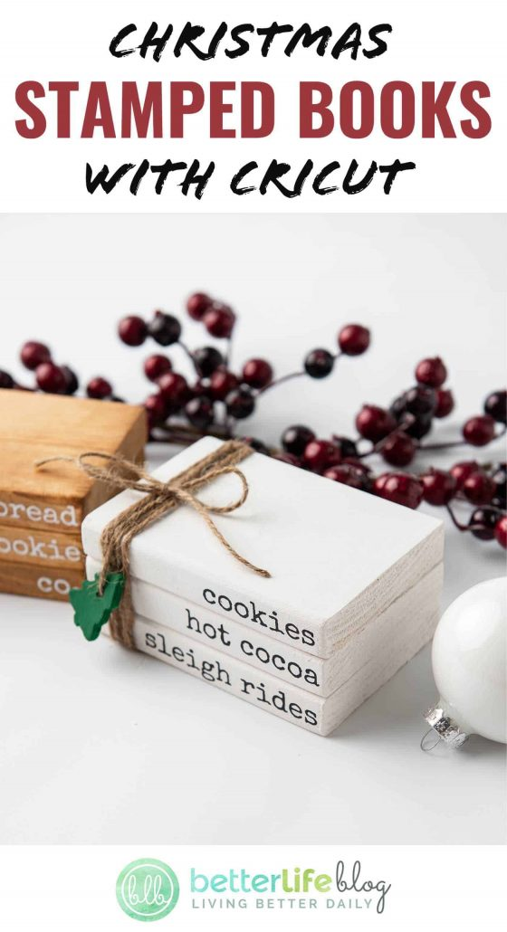Longing for an easy holiday craft? Take out your Cricut! I've got a fun one for you. These Christmas Stamped Books are made with wooden blocks, paint/stain and a simple Cricut design.
