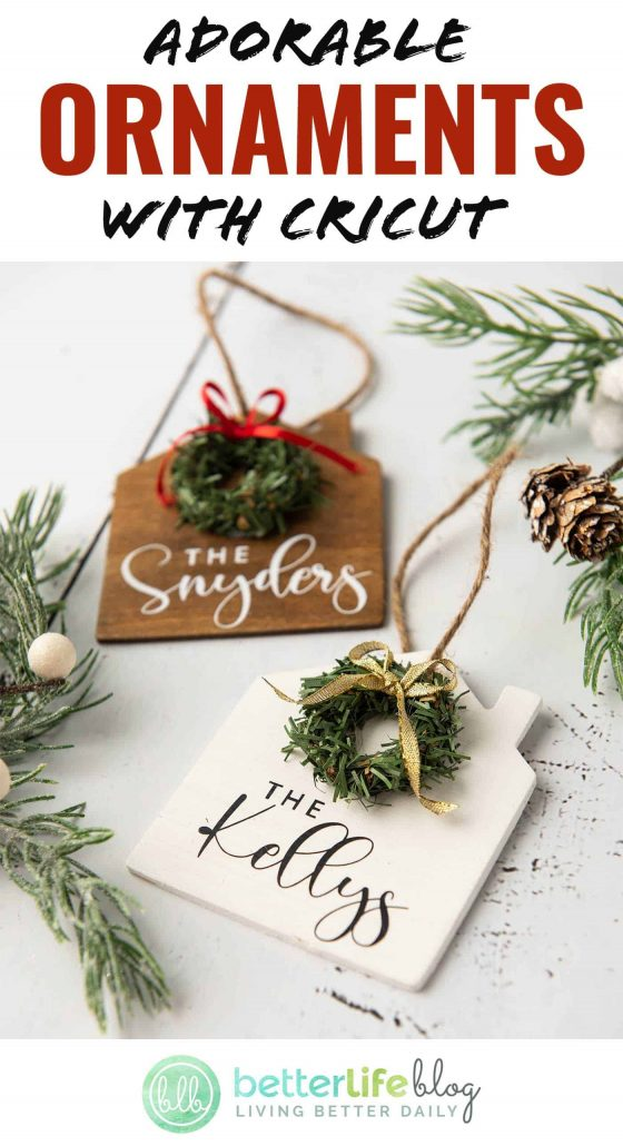 These adorable ornaments are made with a Cricut machine and a very simple design on Design Space - no set SVG file required! They make for a great, personalized gift and boast a beautiful rustic-style design.