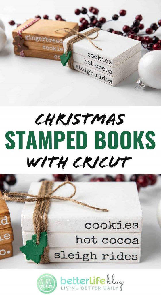 """Christmas Stamped Books with Cricut - These stacked wooden """"books"""" are adorable on any holiday mantel. Learn how to put together this easy DIY with my step-by-step tutorial."""