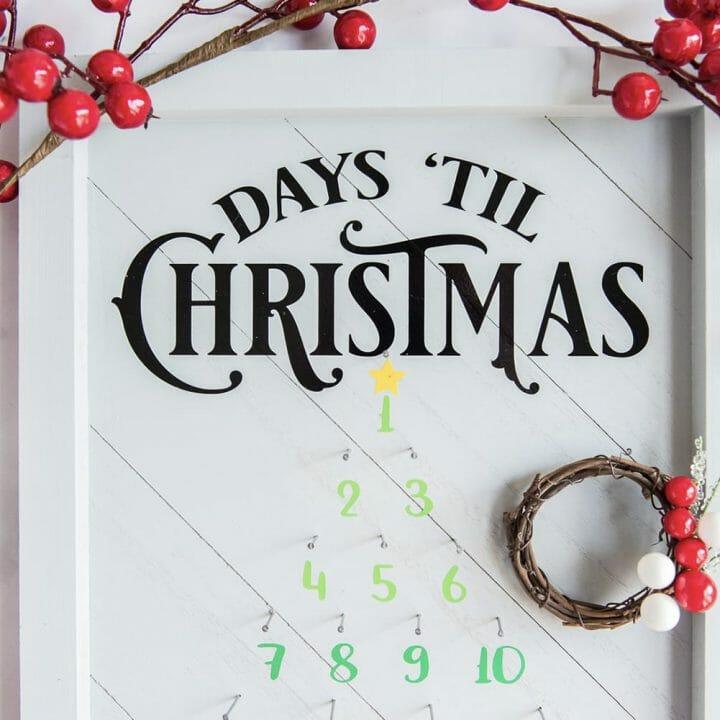 Vinyl on Wood: Christmas Countdown Sign