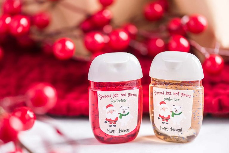 """Looking for a unique stocking stuffer? My Christmas """"Santatizer"""" makes for a unique, personalized gift. It's great for anyone at any age! Plus, it's made using a Cricut machine and makes for SUCH an easy project!"""